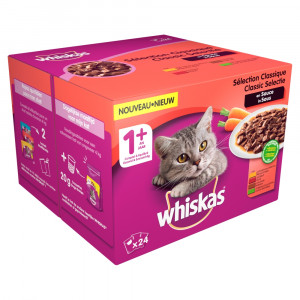 Whiskas 1+ Classic Selectie pouches multipack 24 x 100g Per verpakking
