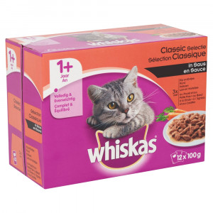 Whiskas 1+ Classic Selectie pouches multipack 12 x 100g Per verpakking (12 x 100g)