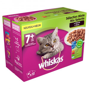 Whiskas 7+ Mix in saus pouches multipack 12 x 100g Per verpakking (12 x 100g)